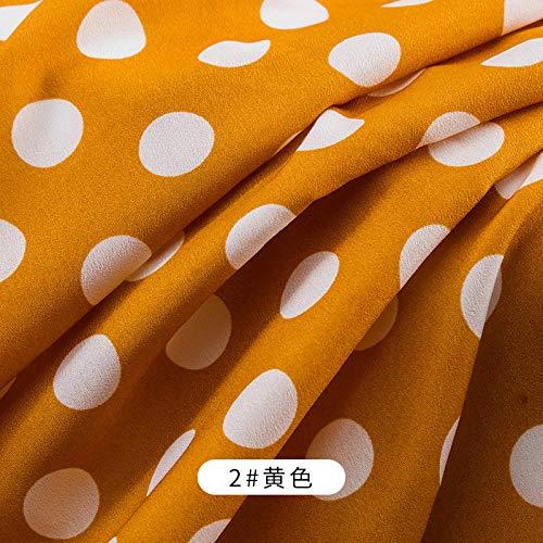 Tela estampada de gasa de punto grande, decoración de fondo transpirable drapeado de verano, tela de ropa, 1M-Amarillo