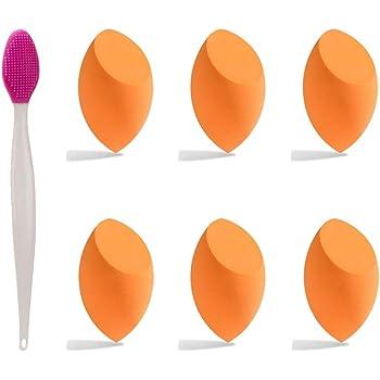 Beauty Sponge Makeup Blender(6 Pcs) Makeup Sponge Blender Beauty Set Flawless Application for Liquids,Concealer,Cream,Powder + Lip Scrub Brush(1 Pcs) for Smoother and Fuller Lip Appearance