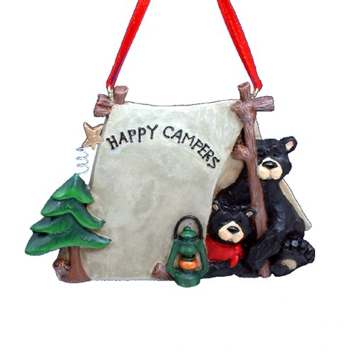 Kurt Adler 1 X Flatback Happy Campers Two Black Bears in Tent Ornament - Christmas Ornament