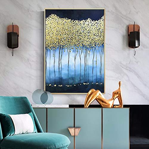 Cartel dorado del árbol de la suerte con impresiones Fondo