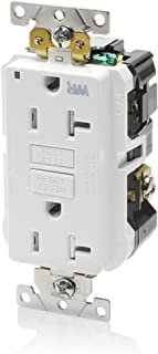 Leviton G5362-WTW 20A-125V Extra-Heavy Duty Industrial Grade Weather/Tamper-Resistant Duplex Self-Test GFCI Receptacle, White, 20-Amp