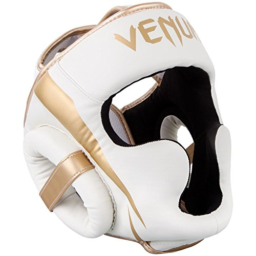 VENUM Elite Casco de Boxeo, Unisex Adulto, Blanco Dorado, Talla Única