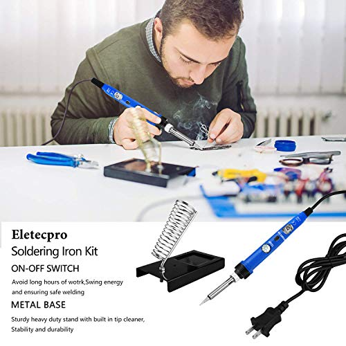eletecpro Soldering Iron Kit Electronics,60w 110V Adjustable Temperature Welding tool with ON/OFF Switch, Digital Multimeter,5pcs Soldering Iron Tips, Soldering Iron Stand, Desoldering Pump, PU Bag