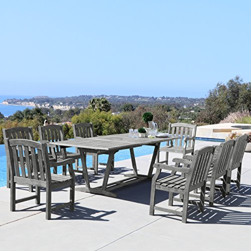 Vifah Renaissance 9-Piece Outdoor Hand-Scraped Hardwood Dining Set with Rectangle Extension Table and 8 Arm Chairs