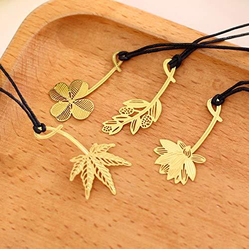 しおり おしゃれな読書に ブックマーカー 木の葉シリーズ 四つ葉のクローバー ハス カエデの葉 オリーブの葉 しおり ブックマーク4個
