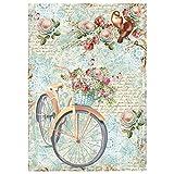 1 hoja Stamperia A4 papel de arroz de 21 x 29,7 cm Decoupage Collage (A4 bicicleta y rama con flores)