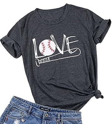 EGELEXY Summer Women Tops Short Sleeve Love Baseball Bat Funny Shirt Blouse