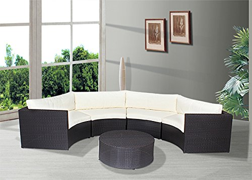husen Outdoor Patio Furniture Sofa Sectional Wicker Round Resin Couch Set (172-7)