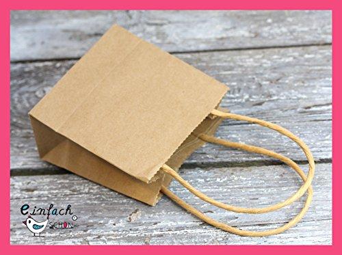 24 x Geschenktüten Henkel Kraftpapier 10x10x5cm für für Adventskalender, Geschenke oder Überraschungen