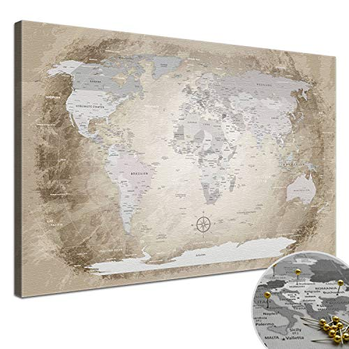 "LANA KK - Weltkarte Leinwandbild mit Korkrückwand zum pinnen der Reiseziele – ""Worldmap Beige� - deutsch - Kunstdruck-Pinnwand Globus in braun, in 100x70cm"