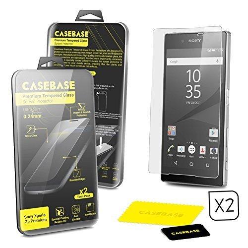 CaseBase® Pack de Dos Premium Protectores de Pantalla de Cristal Templado para Sony Xperia Z5Premium