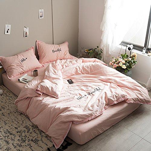 Cuatro, la chica del corazón y el algodón, la Princesa simple viento, algodón puro, individuales, dobles colcha bordada ropa de cama. Cuatro trozos de cubrecama, eres bueno rosa, 2,0 m (6 pies) cama,