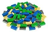 Strictly Briks - Classic Bricks - Set de Ladrillos para Construir de 2 x 4 - 100% Compatible con Todas Las Grandes Marcas de Ladrillos - Azul, Verde, Gris y Arena - 96 Piezas