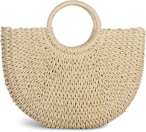 styleBREAKER Damen Halbrunde Korbtasche geflochten mit Kordelzug Verschluss, Bali Bag, Strandtasche, Henkeltasche 02012290, Farbe:Beige