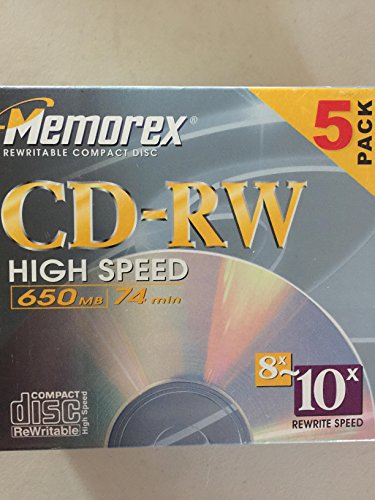 5-Pack CD-RW Media 8x-10x Only 650MB 74min High Speed