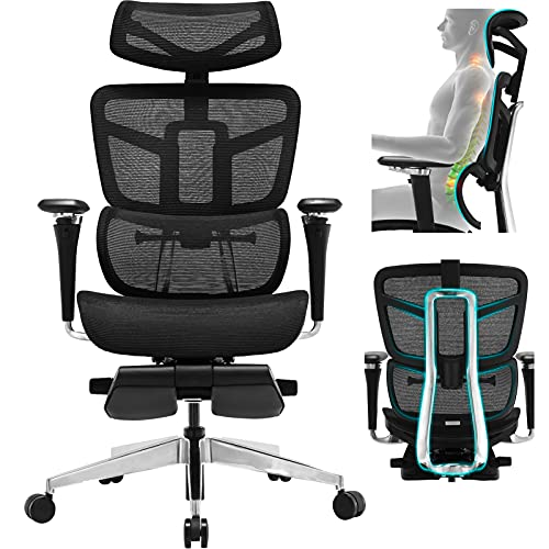 Ergonomic Office Chair - Mesh Desk Chair with 5D Armrest, Computer Chair with Multiple Adjustments: Lumbar Support, Headrest, Backrest, Seat Depth & Height. BIFAMA and SGS Passed Gaming Chairs