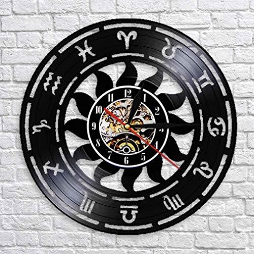 quanjiafu Reloj De Pared De Vinilo Reloj De Pared De Tiempo De Astronomía Zodiaco Inicio Astrología Reloj De Pared De Disco De Vinilo con Led