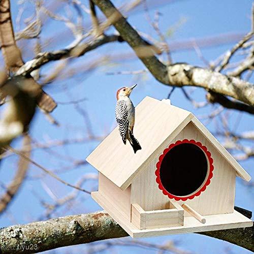 Seasons Shop Mini-nestkastje van hout, klassiek, vogelkooi, met vogelstang, voor buiten, huis, niet klaar om te beschilderen of te decoreren, 19,5 x 23,3 x 18,2 cm