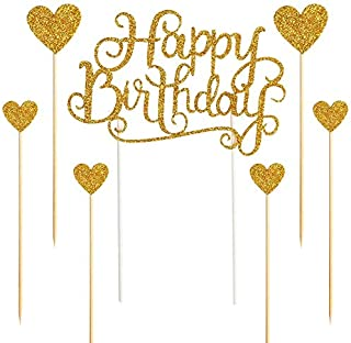 """ZZX Happy Birthday Cake Toppers Glod Glitter Letters""""Happy Birthday""""and Love starParty Decor DecorationsSet of 7"""