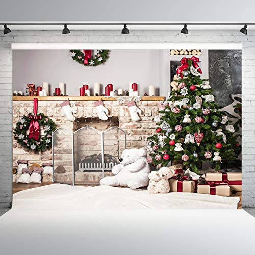 Dobeans 10x10ft Christmas Fireplace Photography Backdrops Christmas Tree Background for Photography Bear Gifts Wreath for Children Baby Adults Photo Studio Vinyl Backdrop