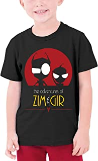LUCY FOSTER Youth Junior Cool Invader Zim Gir Short Sleeve T Shirts Black