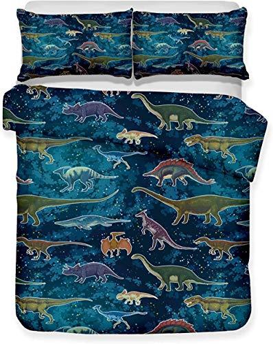 XADITON Juego funda nórdica 3D impresa con ropa de cama y cierre de cremallera 200 Cm x 200 Cm Patrón de dinosaurio de color azul cielo estrellado animal para niños, niños, adultos, microfibra individ