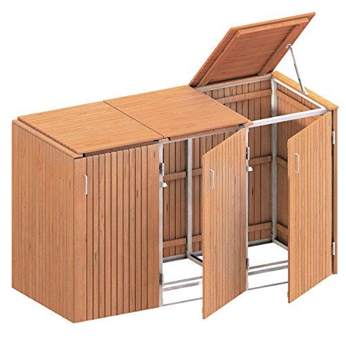 *BINTO Mülltonnenbox Premium Hartholz System 3K – 5114*