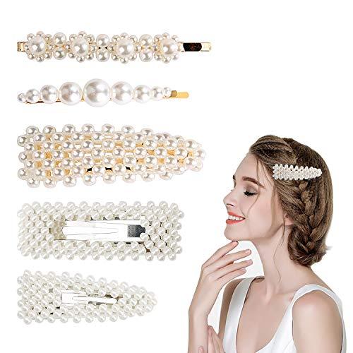 WEKON 5pcs Pinzas de Pelo de Perla, Horquilla de Perla, Clip de Perla Pelo Adorno para Chica Mujer Niña Joyería Accesorios Decoración de Boda Blanco