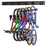 WALMANN Bike Storage Rack, 6 Bike Hooks for Garage & Home Space Saving Wall Mount Vertical Bike Hangers Holds Up to 300LBS