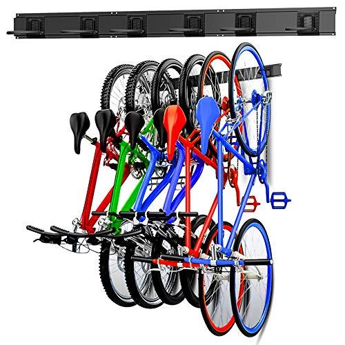 WALMANN Bike Storage Rack, 6 Bike Hooks for Garage & Home Space Saving...