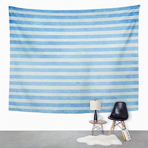 Y·JIANG - Tapiz abstracto, diseño de rayas azules y blancas para decoración del hogar, dormitorio grande, manta para colgar en la pared para sala de estar, dormitorio, 60 x 80 pulgadas