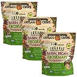 Kii Naturals Bite-Size Artisan Crisps USDA Organic Non-GMO Certified Kosher(Dairy) 5.3 oz 3 pack - Raisin, Pecan & Rosemary