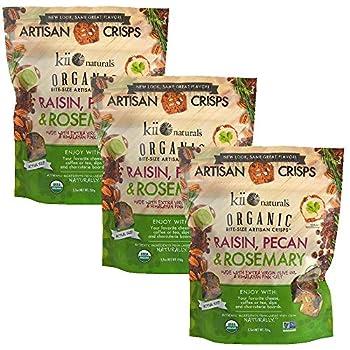 Kii Naturals Bite-Size Artisan Crisps USDA Organic Non-GMO Certified Kosher Dairy  5.3 oz 3 pack - Raisin Pecan & Rosemary