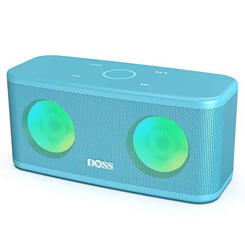 DOSS SoundBox Plus Kabellos Bluetooth Lautsprecher, 16 Watt Bluetooth Musikbox mit Dual-Treiber, Touch Steuerung, Farbige Party Licht, Mikrofon, 20 St. Akkulaufzeit, TF Karte Slot, Blau