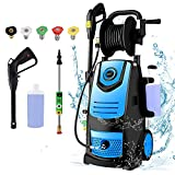 Suyncll Pressure Washer 3800PSI Max 2.8 GPM Electric Pressure Washer with Reel High Power Washer Machine Cleaner with Nozzles, Spray Gun,Detergent Tank for Cleaning Homes,Cars,Driveways,Patios(Blue)