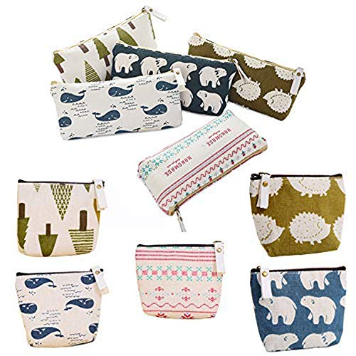 Canvas Zipper Pouch Cosmetic Makeup Bags, Forest and Animal Style Set of 10