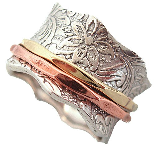 Energy Stone 925 Sterling Silver Balance & Beauty Meditation Spinner Ring Brass & Copper Spinners Leaf Pattern Base Ring (Style USA88) (8)
