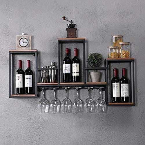 Soporte de pared para botellas de vino de madera y metal, para decoración de cocina, comedor, bar, casa y cocina