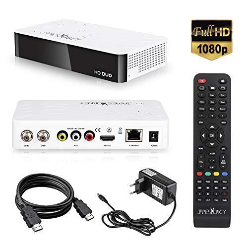James Donkey 2K HD Linux Enigma 2 Sat Twin DVB-S2 Receiver mit 2*DVB-S2 Tuner, HDTV,1080p, H.265, PVR, HDR, mit HDMI Kabel