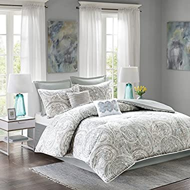 Comfort Spaces Kashmir Comforter Set - 8 Piece - Paisley Pattern - Blue, Grey, Green - King - 1 Comforter, 2 Shams, 1 Bedskirt, 2 Euro Shams, 2 Décorative Pillows