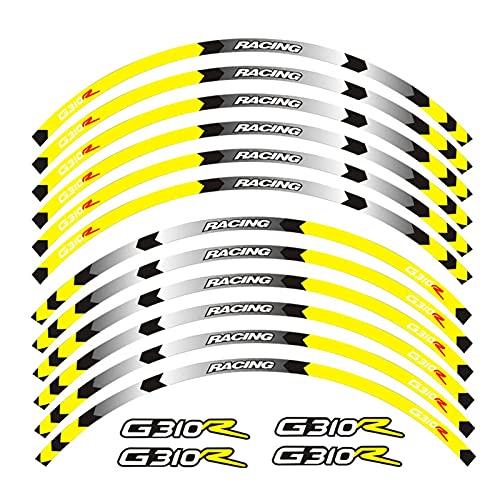 wjyfexble Pegatina de la Rueda de la Motocicleta Stripe Remolque Reflectante Compatible con BMW G310R WYJHN (Color : 1)
