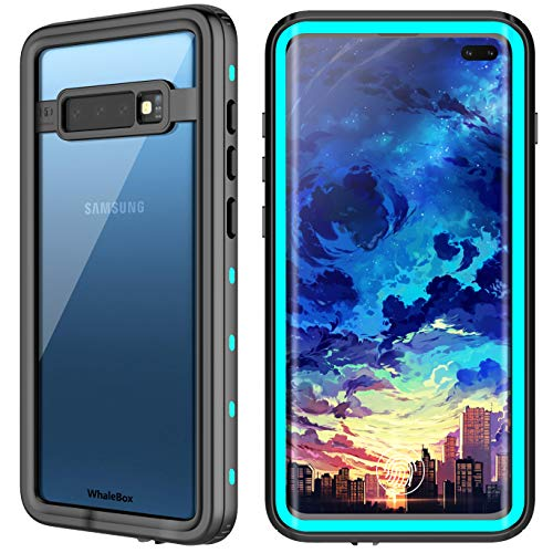 WhaleBox Compatible with Samsung Galaxy S10+ Waterproof Case, Galaxy S10 Plus Waterproof Case Dust Proof Shock Proof Case with Built-in Screen Protector, Heavy Duty Protective for S10+ (Blue/Clear)