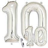 Globos Número 10 Cumpleaños XXL de Plata-Figuras Helio Globo de lámina gigante en 2 tamaños 40y 16   Set XXL 100cm+Mini 40cm version Decoraciones de cumpleaños  Ideal para el 10 Años como decoración
