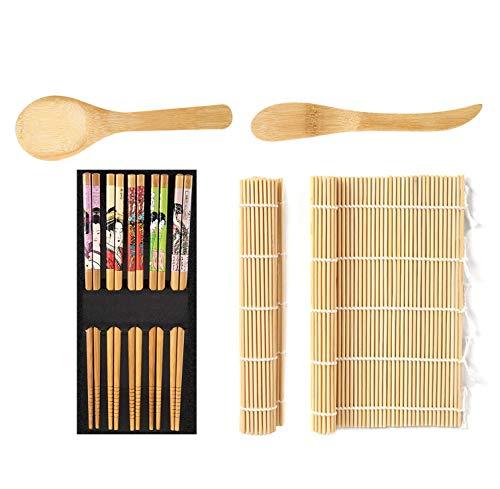WoYu 9pcs Kit para Hacer Sushi, Kit de fabricación de Sushi de bambú, 2 x Home Sushi Rolling Mat 5 x Palillos 1 x Cuchillo de Madera 1x Cuchara de arroz de bambú