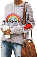 Dresswel Damen You Are My Sunshine Sweatshirt Regenbogen Pullover Pulli Herz Druck Rundhals Lanagrmshirt Oberteile Bluse...
