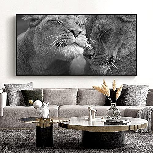 Cuadro artístico impreso en lienzo con cabeza de León africano en blanco y negro, cuadro de pared de animales salvajes, póster moderno para decoración del hogar para sala de estar 40x80 CM (sin marco)