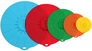 Tapas de Silicona,Tapa Microondas Elásticas ISIYINER Lavable Tapas en Lavavajillas sin BPA proteger los Alimentos Frescos Stretch Tapa de Ollas Tazas Vasos Platos Taper[5Pack]
