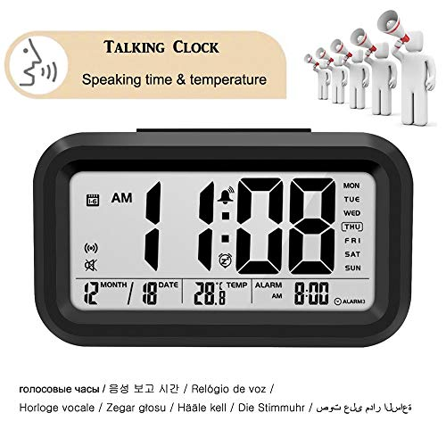 Pratende klok Spreken Tijd en Temperatuur Digitale Snooze Alarm Klok met Thermometer Kalender Backlight