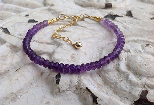 World Wide Gems Pulsera * Ombre * Amatista calidad AAA, paleta de púrpura, púrpura, plata de ley perlas tribales de oro de 24 quilates en plata, relleno de oro, Boho 3,5 a 4 mm Code- WAR6355