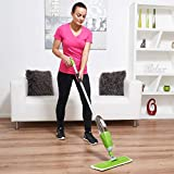 Vinsani Green Spray Floor Mop - Water Spraying Floor Cleaner with Refillable Bottle for Hardwood, Wood, Vinyl,...